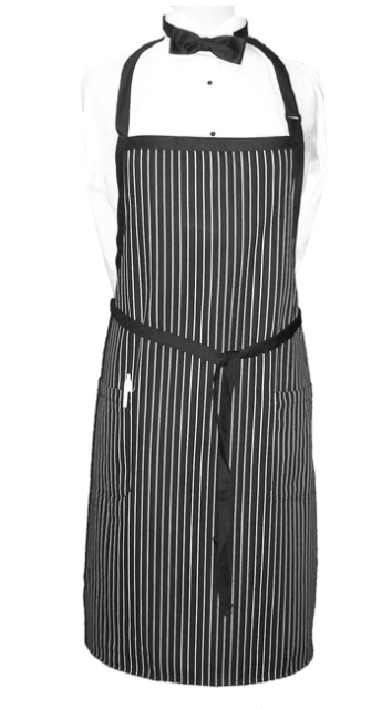 Apron Bib Stripe 2 Pockets